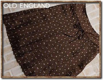 オールドイングランド リボン付きプリーツスカート 茶