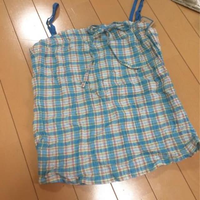 新品◆ギンガムチェック柄コットンキャミソール◆11号サックス  < 女性ファッションの