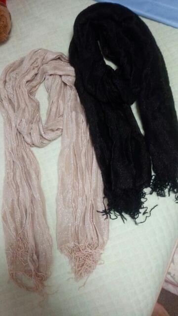 黒ラメ&ベージュラメプリーツストール二点セット国産  < 女性ファッションの