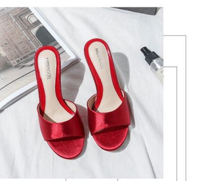 TA211-1即決 新品 ミュール 赤 22.0 エスペランサ ダイアナ プールサイド 好きに < 女性ファッションの