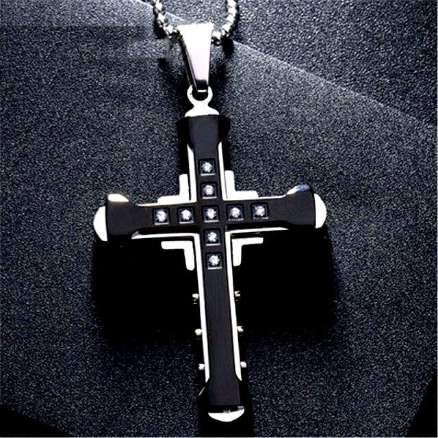 特A品 新品1円〜★送料無料★ダイヤモンド ブラック十字架 シルバーネックレス