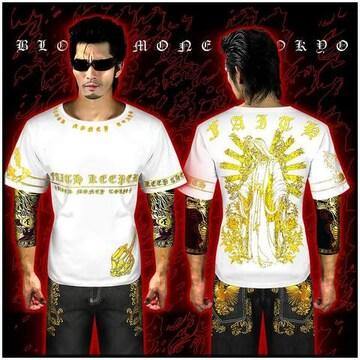 送料無料!ヤクザ悪羅悪羅系/オラオラ系スカルマリア半袖Tシャツ服/14005白XL