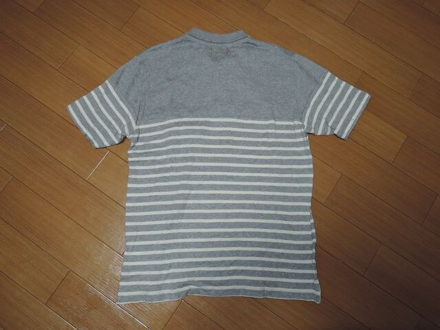 カシュカCASHCAコットンニットポロシャツS灰ボーダー < 男性ファッションの