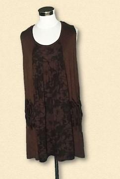 新品ブラウンワンピースジャンパースカート4L