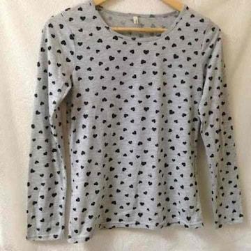 コンフォートベーシック★ハート グレー ロング Tシャツ M