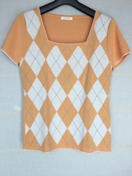 アーガイル柄 半袖 オレンジ サマーニット トップス Lサイズ N2m