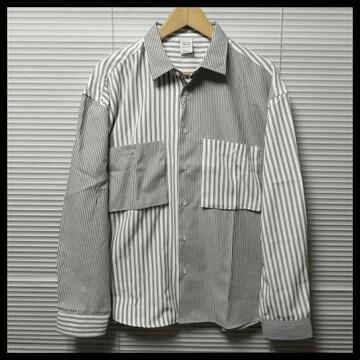 ストライプ柄クレイジー切替ビッグシャツ/GRAY/L