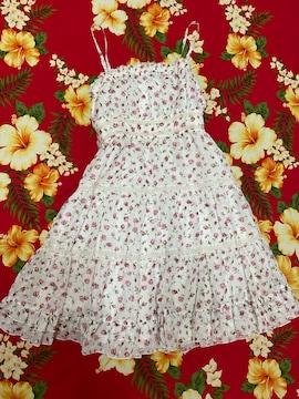レストローズ☆可愛いリボン付きホワイト×ピンク薔薇柄ワンピ
