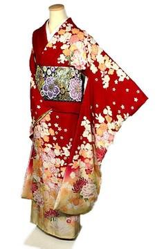 【最高級】新品同様 暈し染め 金糸 シシュウ 桜 牡丹 振袖 T2077