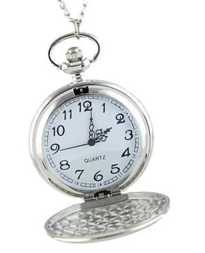 鏡面銀色 懐中時計 ネックレス エレガント