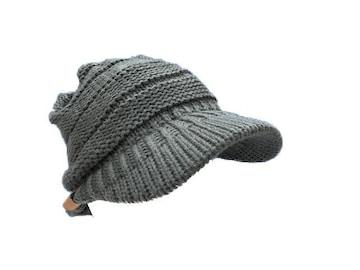 送料無料 N789 ニット つば 付 帽子 キャップ Cap