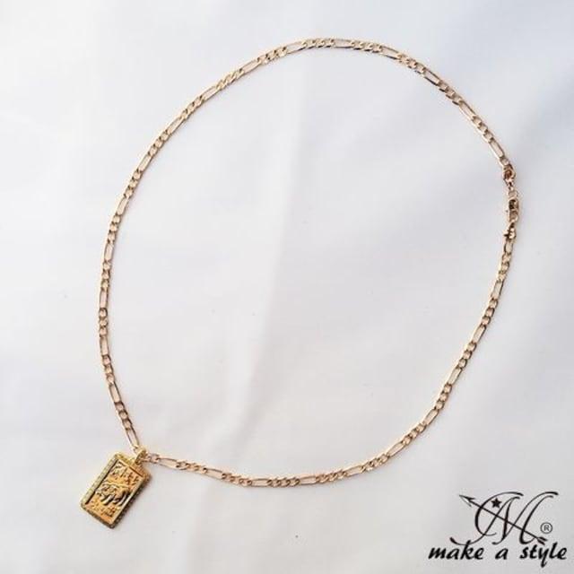 豚 ブタ ぶた フィガロ チェーン 金ゴールド GOLD ネックレス611 < 男性アクセサリー/時計の