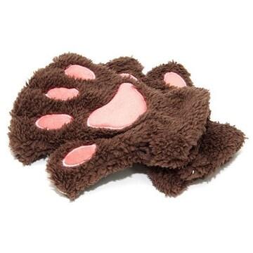¢M ふわふわもこもこ かわいい猫の手の手袋 /ブラウン