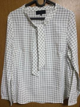 アンタイトル昨季新品チェックボウタイシフォンブラウスシャツ大きいサイズ411号12号13号