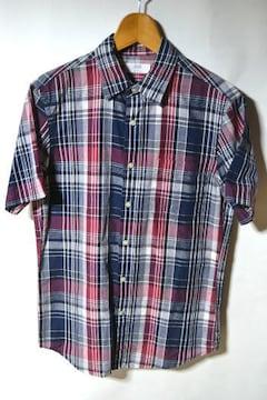 ユニクロ リネンコットン チェックシャツ 半袖 レッド M メンズ
