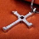 特A品 新品1円〜★送料無料★ 可動式 ダイヤモンド十字架 シルバーネックレス