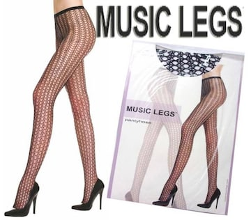0A7)MUSICLEGSクロッシェ穴あきストッキング黒網タイツセレブB系ダンサー衣装パーティー