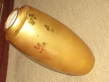 未使用☆陶器製*焼き物*花瓶(ゴールド系)HAKUICHI