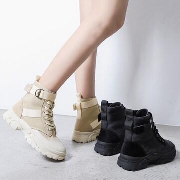 ショートブーツ ワークブーツ 厚底 レースアップ 靴 秋冬