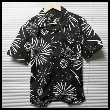 SALE 花火柄オープンカラーシャツ/BLK/M 開襟 半袖
