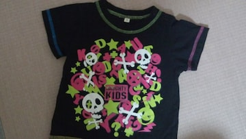 美品☆スカルプリントTシャツ♪90  ブラック 半袖