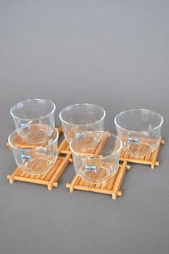 新品 冷茶器 グラス 竹茶托 5客セット まとめて 食器 コップ
