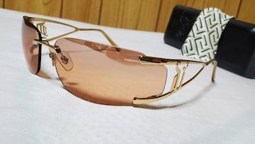正規未 ヴェルサーチ ゴシックロゴ スポーティーフレームレスサングラス 茶系×メタルゴールド