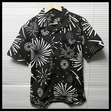 花火柄オープンカラーシャツ/BLK/L 開襟 半袖