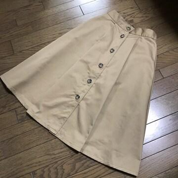 ローズバッドROSE BUD ベージュトレンチ膝下ロングチノスカート