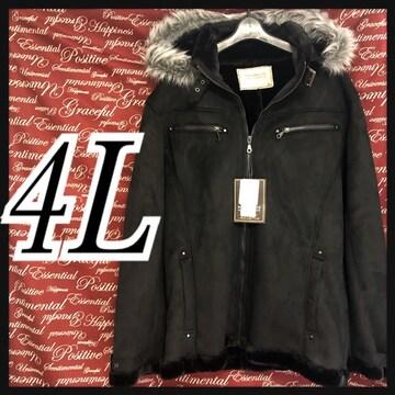 4L・ファーフード付きムートン調コート新品/MCfu-102
