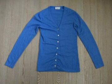 超美品&伊産★Cashmere Silk Company★カシミア、絹/青/S