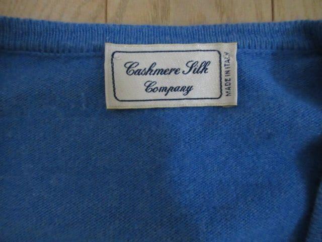 超美品&伊産★Cashmere Silk Company★カシミア、絹/青/S < 女性ファッションの