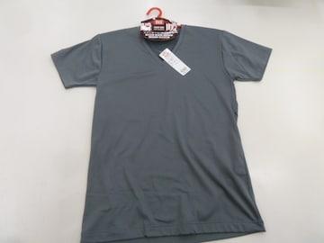 �BM灰)BVD★VネックTシャツ GR074HS 半袖 瞬暖 裏起毛伸縮帯電防止