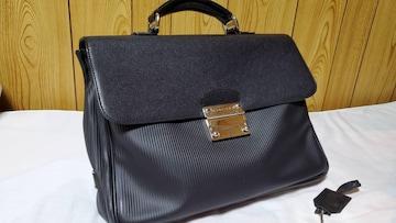 正規良 ブルガリ ミレリゲ ロゴ金具 ビジネスバッグ黒 ブリーフ 書類鞄 鍵 L