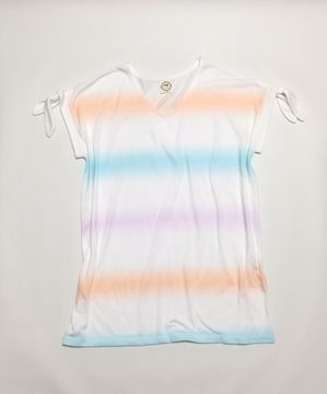 アクアガールag〓パステルレインボー白半袖Tシャツ(M)新品〓