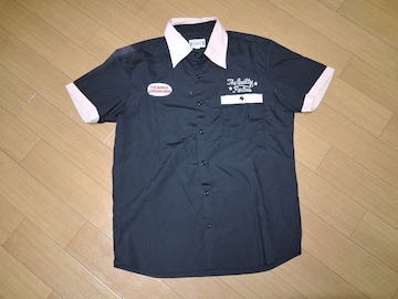 ワコマリアWACKO MARIAボーリングシャツS黒ワッペン刺繍ワーク