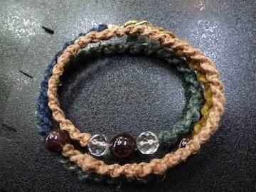 ガーネット 水晶 手編み3連 ブレスレット