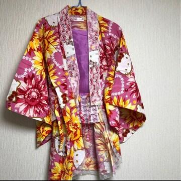 レディース ミニ丈キティー&花柄浴衣ドレス M