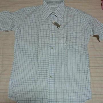 FUKUSUKE ブルー格子柄白色半袖シャツ 新品未使用