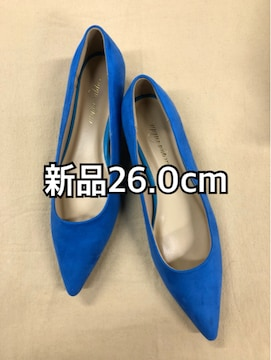 新品☆26.0�p3Eヒール3.0�pトンガリ青いパンプス☆j223