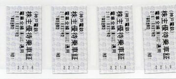 神戸電鉄 株主優待乗車券 4枚 切符型 電車全線(湊川以北)