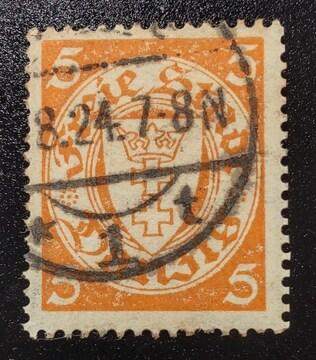1924年ドイツ ダンッイヒ紋章図案切手5pf 使用済み