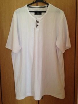 メンズ Big 大きいサイズ 5L 半袖 Tシャツ カットソー ホワイト
