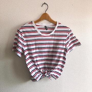 ◆H&M/エイチ&エム◆スソしばりTシャツ★ボーダーS*春コーデ♪美品