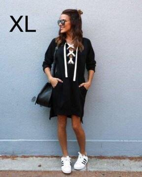 新品☆裏起毛♪編み上げワンピース ブラック XL