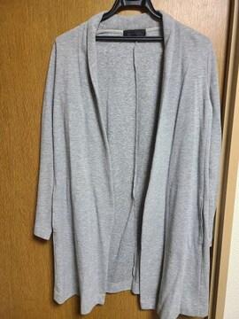 アンタイトル昨季美品グレーコットン混ロングトッパーカーディガン大きいサイズ411号12号