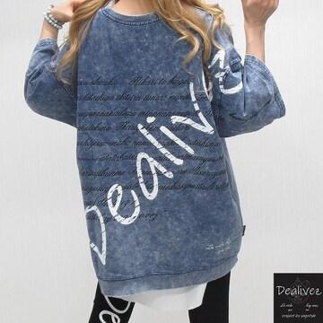 NEW最新【Dealivez】バックロゴデニムTシャツ/プルオーバー