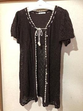 メイプルフィール☆透かし編み カーディトップス L