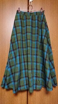 126 フレアスカート 緑 グリーン チェック F