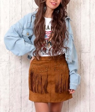 anap mimpi フリンジ台形スカート キャメル
